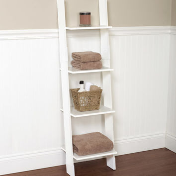 Walmart: Hawthorne Bathroom Wood Ladder Linen Tower, White