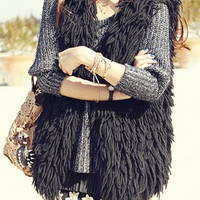 Black Knited Tassels Cardigan
