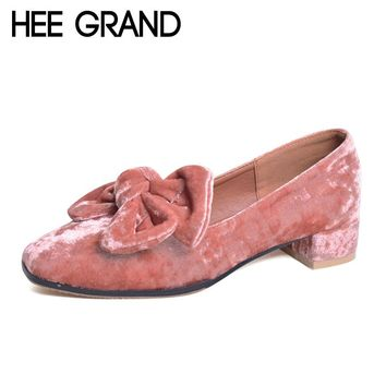 HEE GRAND Bowtie Brogue Shoes Woman 2017 New Oxfords Velvet Slip On High Heels Casual Platform Women Shoes Size 35-40 XWD5186