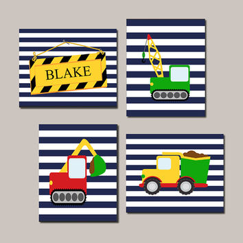 CONSTRUCTION WALL ART, Boy Nursery Decor, Boy Wall Art, Dump Truck Nursery Set of 4 Prints Or Canvas Big Boy Bedroom Boy Playroom Decor