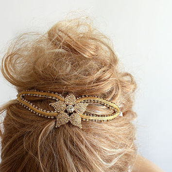 Bridal Gold Rhinestone Headband, wedding Headband, wedding Accessories,  Bridal Accessories,  Bridal Hair Accessories, Vintage Style