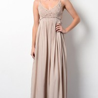 Something Special Crochet Maxi Dress - Mocha
