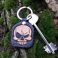 Skull Leather Keychain, Skull Key Fob, Custom Leather Keychain, Heavy Metal Skulls, Hand carved leather, Personalized key fob, Key leather