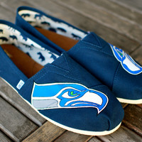 Hand Painted Seattle Seahawks Navy Canvas Classic Toms