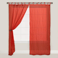 Solid Cranberry Crinkle Voile Curtain - World Market