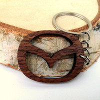 Wooden Mazda logo Keychain, Walnut Wood, Car Sign Keychain, Logo Keychain, Environmental Friendly Green materials