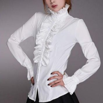 ICIKKFQ Women Lady Victorian OL Shirt Frilly Ruffle Tops Flounce Blouse Clothes Formal Work Party Long Sleeve White Black Shirts