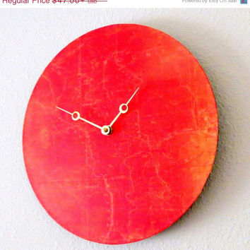 Unique Wall Clock, Orange Decor, Home and Living, Decor & Housewares, Living Room Decor, Unique Gift
