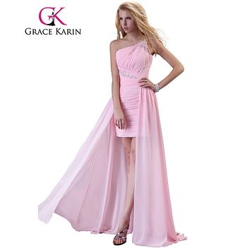 Grace Karin Short Front Long Back Prom Dress Robe De Soiree Women Glittering Chiffon Long One Shoulder Pink Prom Dresses 2017