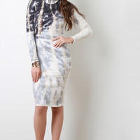Ribbed Knit Tie Dye Bodycon Dress