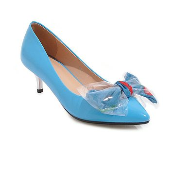 Pointed Toe Bow Tie Shallow Shoes Women Pumps Stiletto Middle Heels