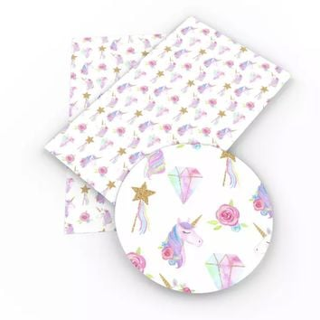 Rainbow diamonds unicorns & fairy wands faux leather fabric sheet