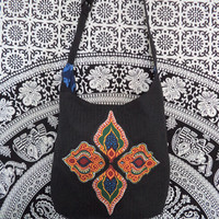 Unique bohemian bag by Boho Rain/ Crossbody black on black stripe with vintage African dashiki print/ boho bag ethnic style fabric