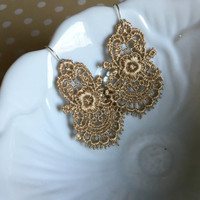 Lace Chandelier Earrings - Gold Lace Earrings - Lightweight Lace Earrings - Simple Lace Earrings - Crochet Lace Jewelry