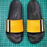 Bally Sandals Black Yellow Slipper - Best Online Sale
