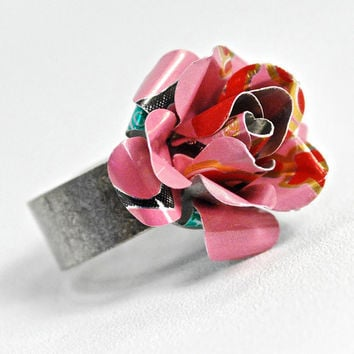 Recycled Jewelry Pink Rose Ring From Upcycled Aluminum by wearwolf