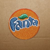 Woven Iron On Patch Fanta Patch Popular Sparkling Drink Emblem Iron on Sew on Embroidered Patch Badge