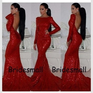 Long Sleeves Mermaid Backless Long Red Sequins Prom Dresses Formal Party Gowns Evening Dresses Custom Made CH-10438 = 1946388100