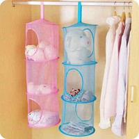 3 Shelf Hanging Storage Net Organizer Bag Bedroom Door Wall Closet Organizers Free Shipping