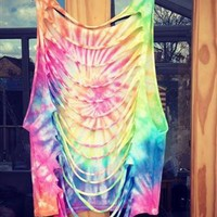 Rainbow Slash Back Bikini Cover Up from RetroStarr