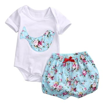 Sky blue Shorts Newborn Baby Boy Girl Romper Clothes Floral Infant Bebes Cotton Romper Bodysuit +Bloomers Bottom 2pcs Outfit