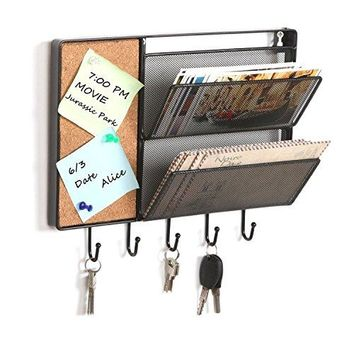 Black Mesh Metal Wall Mounted Storage Rack  Hanging Mail Sorter w Cork Board amp 5 Key Hooks  MyGift