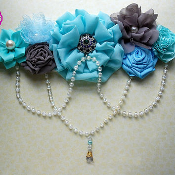 Maternity Sash / Belly Sash / Belly Band /Gender Reveal / It's a Boy / Baby shower sash / Gray  blue aqua sash / flower sash / mint sash