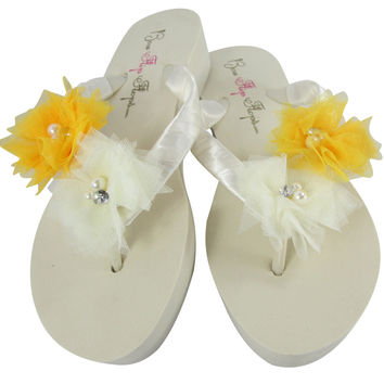 Yellow Flower Flip Flops on Ivory Wedge Platform Heels- Bride or Bridesmaid Gifts/ Shoes