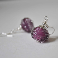 Orchid Earrings, Artisan Glass, Light Weight Hollow Dangle Earrings, Ridged Purple Glass Earrings