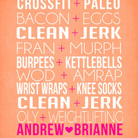 Crossfit Couple, Friends - 8x10 Custom Art Print, Pairs, Bacon, Eggs, Paleo, AMRAP, WOD, Fran, Swole Mates, Fit Couple, Fitness, OLY