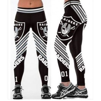 Football Team Oakland Raiders 3D Printed Workout Leggings For Joggers Fitness Legging High Waist Elastic Gymnasium Leggins