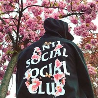 ANTI SOCIAL SOCIAL CLUB Tide brand couple loose loose hooded hoodie Black