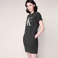 CK Calvin Klein Women Fashion Short Sleeve Sweatshirt Mini Dress