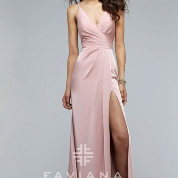 Dusty Pink Faviana 7755 V Neck Draped Skirt Prom Dress