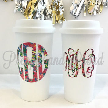 Lilly Pulitzer Inspired Insulated Coffee Tumbler With Monogram, Monogrammed Decal, Monogram Sticker, Coffee Tumbler, Monogrammed Tumbler