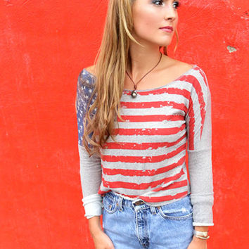 Patriotic Girl American Flag Gray Cropped Long Sleeve Top