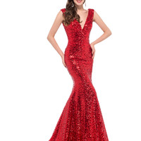 Cheap Long Red Sequin evening dresses 2016 robe de soiree longue vestido de noche Sexy Trumpet mermaid gown Gold formal Dresses