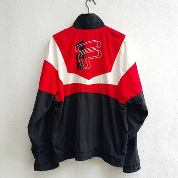 FILA logo biella italia moda nella vita sportiva black white red pullout nylon jacket windbreaker zippered training running