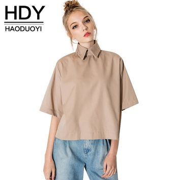 HDY Haoduoyi retro preppy style shirt fashion turn down collar blouse slim women shirt for wholesale and free shipping