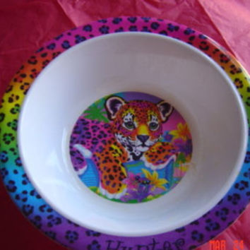 Vintage VTG Lisa Frank Tiger Hunter Plastic Kids Bowl