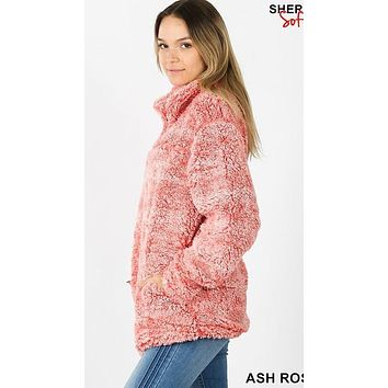 Full Fleece Lined Sherpa Half Zip Pullover with Side Pockets