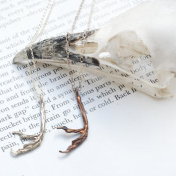 Sparrow foot necklace pendant silver