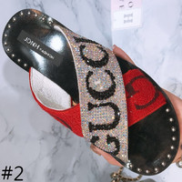 GUCCI 2018 summer new fashion flat alphabet diamond women slippers F0229-1 #2