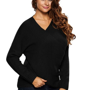 Black Long Sleeve Chunky Cross Wrap V Neck Tunic Pullover Sweater
