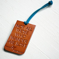 Wander Luggage Tag - Genuine Leather Luggage Tag - Not All Who Wander Are Lost - Your Choice of Stain and Lace Color - Wanderlust