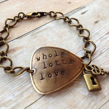 "Metal Guitar Pick ""Whole Lotta Love"" Bracelet, Led Zeppelin Lock and Key"