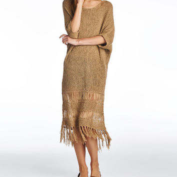 Mocha Fringe Hem Dolman Dress
