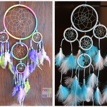 "Dream Catcher with feathers Multicolor&Blue&Red 3colors for choice length 21"" wall hanging decor home car decoration ornament Hand Carfts [9613384143]"