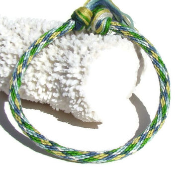 Green and blue argyle friendship kumihimo bracelet with or without purchased magnetic clasp-- your choice