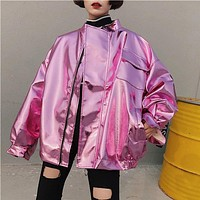 Fashion Women Metal Hip Hop Punk Style Bomber Jacket Plus Size Solid Batwing Loose Jacket Chic Korean BF Style Oversized Coat